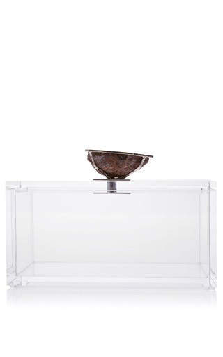Medium kimberly mcdonald multi lucite box with bezel set geode