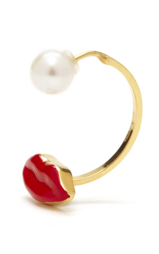 Medium delfina delettrez off white red mouth and pearl earring
