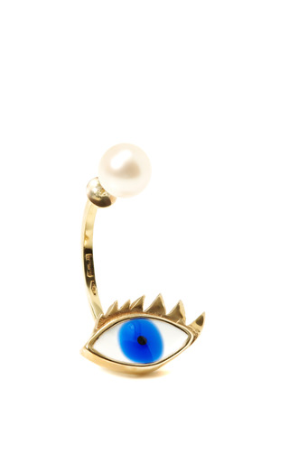 Medium delfina delettrez off white singular gold enamel and pearl eye earring