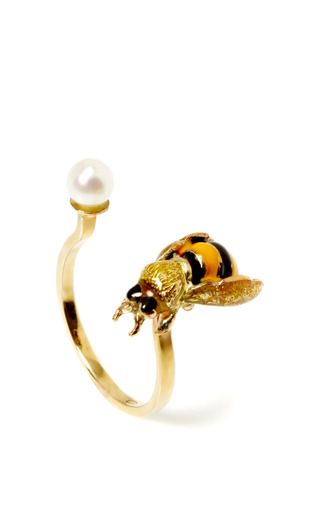 Medium delfina delettrez black gold pearl and enamel bee cuff ring