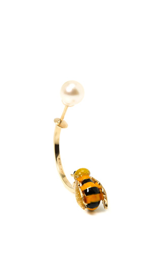 Medium delfina delettrez off white singular gold enamel and pearl bee earring