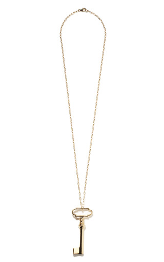 Medium jennifer fisher gold vault key pendant with 18 small link chain