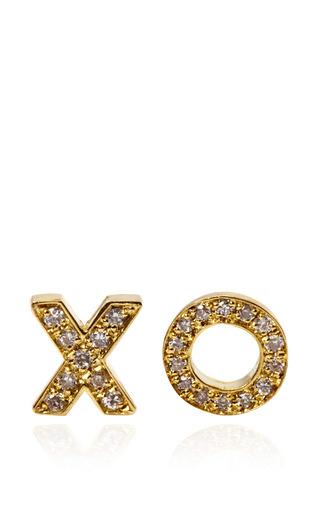 Medium jennifer meyer gold 18k yellow gold and diamond xo stud earrings