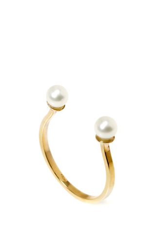 Double Pearl Gold Cuff Ring by DELFINA DELETTREZ Now Available on Moda Operandi