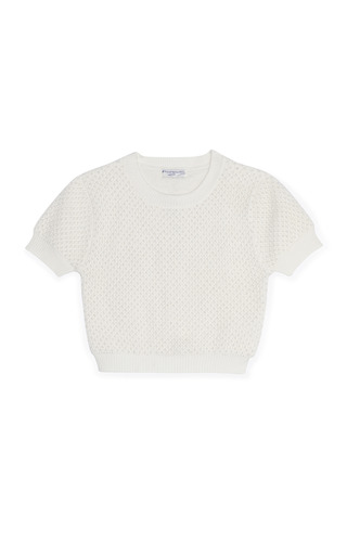 Medium opening ceremony white pearl embellished pullover