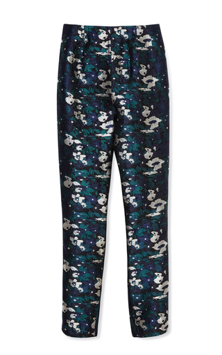 Medium opening ceremony blue floral jacquard fitted pant