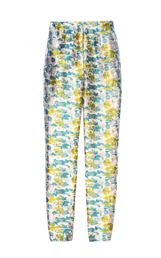 Medium opening ceremony pink floral jacquard fitted pant 2