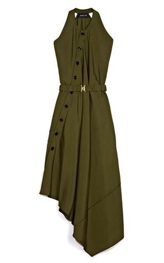 Medium derek lam green washed silk belted asymmetrical dress