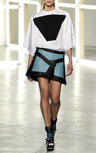 Teal & Black Woven Jacquard Skirt by RODARTE for Preorder on Moda Operandi