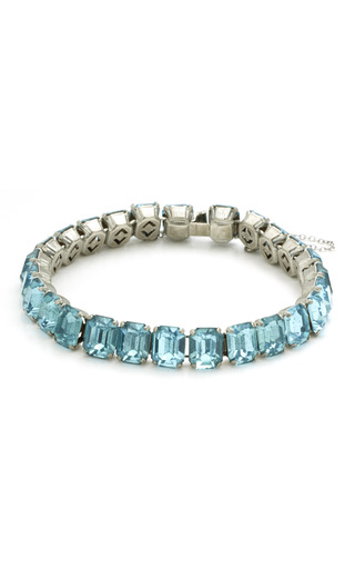 Medium house of lavande silver baby blue emerald cut bracelet
