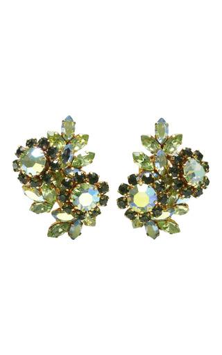 Medium house of lavande green floral cluster earrings with aurora borealis stones