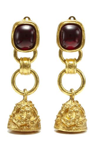 Medium house of lavande red three tier chanel dangling bell earrings