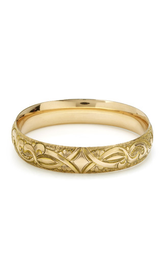 Gold Victorian Bangle With Etched Accents by HOUSE OF LAVANDE for Preorder on Moda Operandi