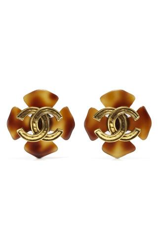 Medium house of lavande gold chanel clover cross tortoise shell earrings