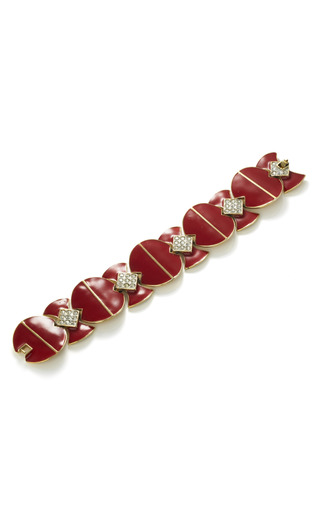 Medium house of lavande red art deco enamel bracelet