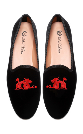 Medium del toro black prince albert dragon slipper loafers