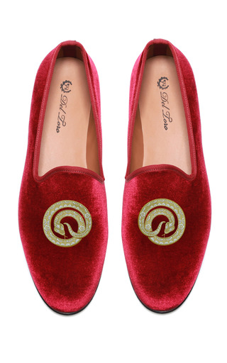 Medium del toro red prince albert snake slipper loafers