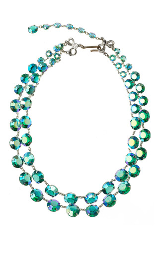Double Strand Aurora Borealis Crystal Chicklet Necklace by CAROLE TANENBAUM for Preorder on Moda Operandi