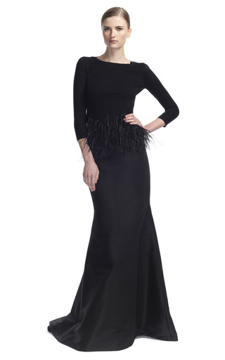 Medium carolina herrera black knit top with feather detail