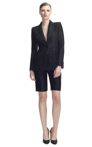 Medium carolina herrera black cotton and silk mikado jacket with feather detail