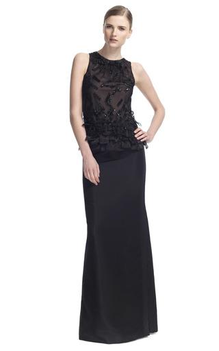 Medium carolina herrera black lace blouse with embroidery