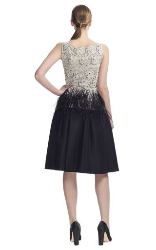 Lace Blouse With Feather Detail by CAROLINA HERRERA for Preorder on Moda Operandi