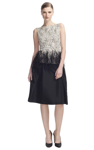 Medium carolina herrera black lace blouse with feather detail