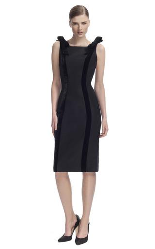 Medium carolina herrera black silk faille dress with velvet detail