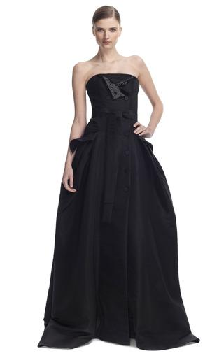 Medium carolina herrera black silk faille strapless trench gown