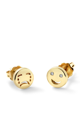 Medium alison lou gold happy sad stud earrings in 14k yellow gold 2