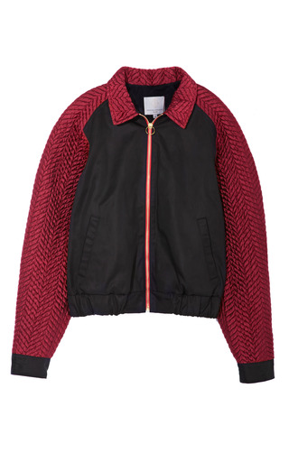 Medium opening ceremony black chevy bomber jacket in red