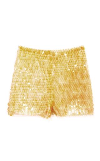 Medium opening ceremony yellow pacific paillette shorts in mustard