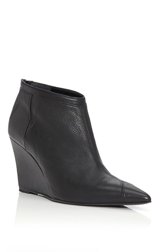 Medium narciso rodriguez black pointed toe wedge bootie