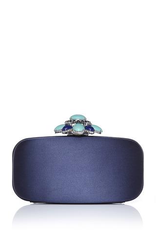 Marine Satin Jewelry Clasp Clutch by OSCAR DE LA RENTA for Preorder on Moda Operandi