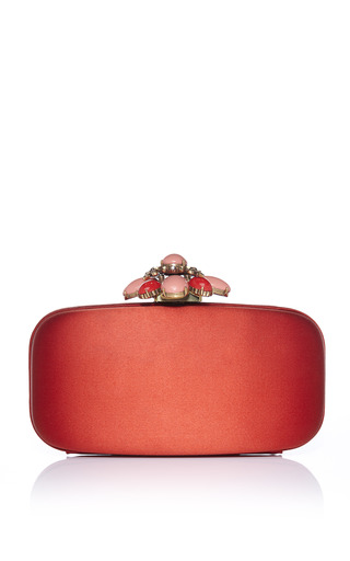Cinnamon Satin Jewelry Clasp Clutch by OSCAR DE LA RENTA for Preorder on Moda Operandi
