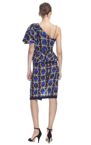 One Shoulder Graphic Space Plaid Cocktail Dress by LUBLU KIRA PLASTININA for Preorder on Moda Operandi