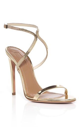 Medium aquazzura gold nude cannes sandals