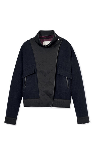 Medium 3 1 phillip lim navy splittable wool coating tromp loeil layered dolman jacket