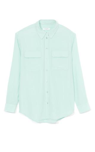 Medium equipment green ice green crepe de chine signature blouse