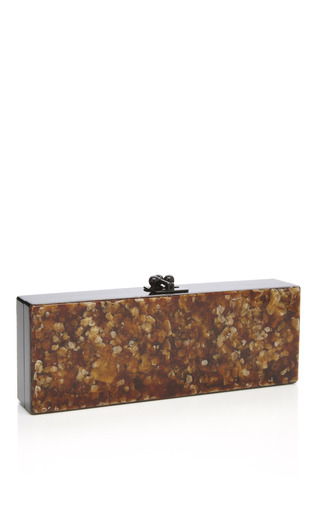 Bronze Mica Flavia Clutch With Black Acrylic Ribbon by EDIE PARKER for Preorder on Moda Operandi
