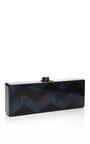 Navy Pearlescent Chevron Flavia Clutch by EDIE PARKER for Preorder on Moda Operandi