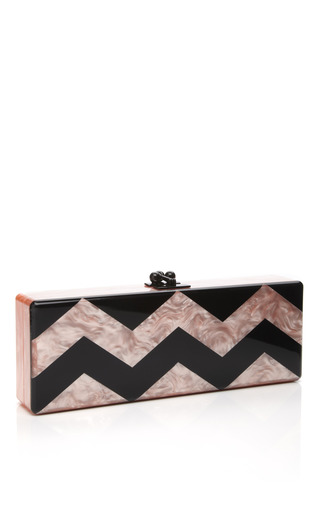 Medium edie parker black pale pink pearlescent chevron flavia clutch