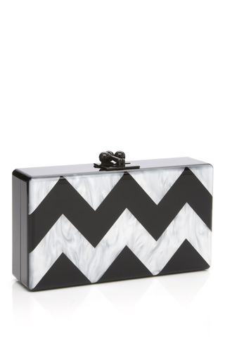 Medium edie parker black pearl pearlescent chevron jean clutch