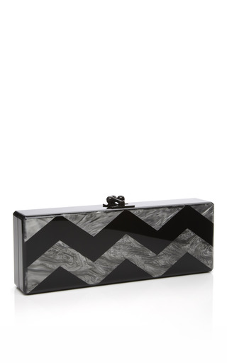 Medium edie parker metalic steel pearlescent chevron flavia clutch