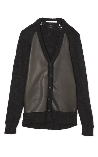 Medium thakoon addition brown leather front knit cardigan