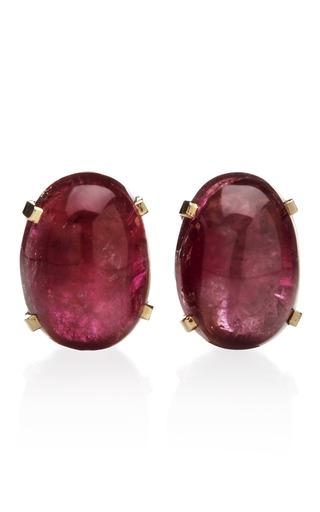 Medium tara compton gold prong set pink tourmaline earrings