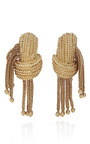 18 K Knot Earrings With Chain Fringe by TARA COMPTON for Preorder on Moda Operandi