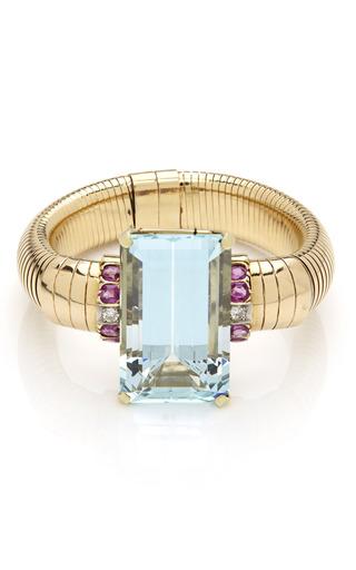 Medium tara compton green 18k rose gold bracelet with faceted aquamarine stone