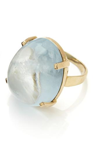 Medium tara compton green 14k and solitare aquamarine cabochon ring