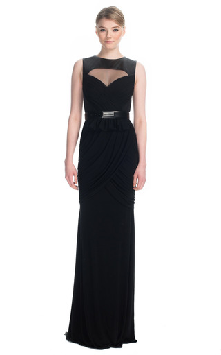 Hand Draped Leather Yoke Gown by PRABAL GURUNG for Preorder on Moda Operandi